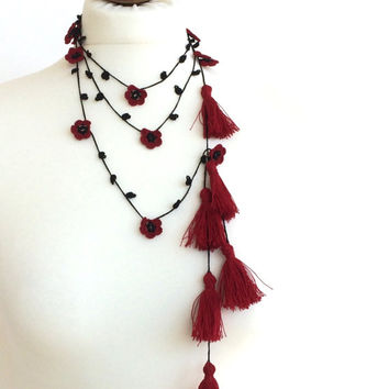 Red Tassel Necklace, Boho Wrap Necklace, Crochet Necklace, Oya Beaded Lariat, Gift For Her, Jewelry Gifts, Crochet Jewelry, ReddApple
