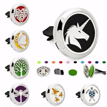 Unicorn Dragonfly Fairy 30mm Magnet Stainless Steel Removable Aromatherapy Perfume Car Diffuser Locket Vent Clip 10pcs Pads