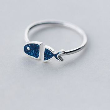 Real. 925 Sterling Silver Jewelry Blue Sequins Fish Ring Openable Adjustable charms GTLJ1189