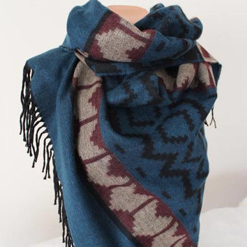 EXPRESS SHIPPING ! Blanket Scarf, Kilim Wool Scarf, Oversize Men's Shawl, Aztec Wool Shawl, Tribal Blanket Scarf, Tassel Winter Wrap Shawl,