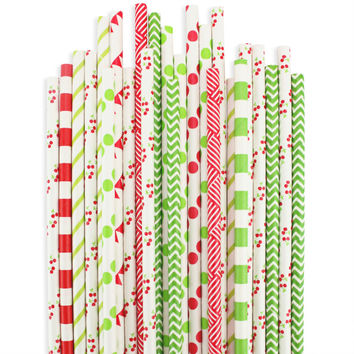 Cherry Basket Paper Straw Assortment