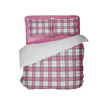 Pink and Black Plaid Preppy College Girls Comforter Set