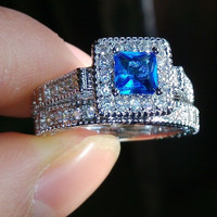 10kt gold  Aquamarine Diamonque filled CZ Simulated Diamond wedding Ring set