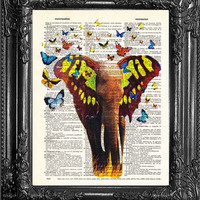 Elephant Decor Poster Prints-Animal Art Print-Butterfly Wing-Boyfriend Gift-Cute Gift Art Print-Elephant Wall Art-Birthday Gift For Her APBW
