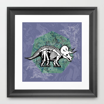 Triceratops Fossil Framed Art Print by chobopop