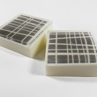 Asymmetrical Grey And White Striped Scented Shea Butter Soap- Oatmeal, Milk, And Honey | Luulla