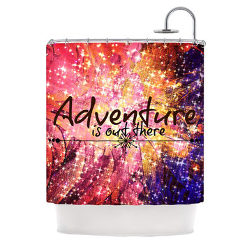 "Ebi Emporium ""Adventure is Out There"" Pink Typography Shower Curtain"
