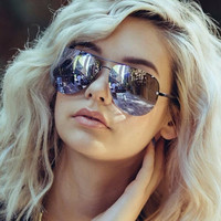Quay - Muse Sunglasses - Black/ Purple Mirror