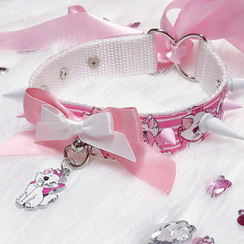 MADE TO ORDER - Pastel Pink and White Marie Kitty Mismatched Spiked Collar