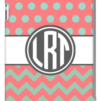 Half Chevron Polka Dot Monogram iPad 2, 3 & Retina Slim Case