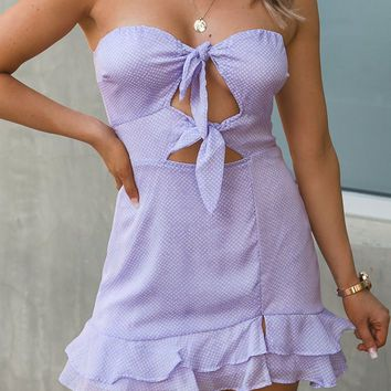 Left Breathless Lilac Dotted Mini Dress