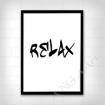 Relax,  Bathroom decor, Living-room decor, Instant download, Digital print, Bathroom Poster, Bedroom decor, Print, Minimalist, Printable