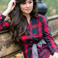 Vanna Red Mixed Plaid Flannel Dress