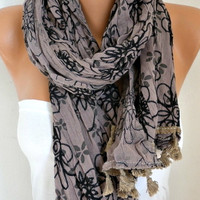 Spring Celebrations Taupe Floral Scarf Mother's Day Gift Shawl Cotton Summer Cowl Embroidered Gift Ideas For Her Women's Fashion Accessories