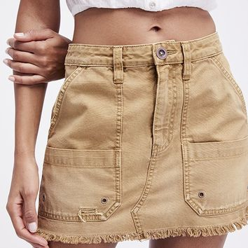 Relaxed Canvas Mini Skirt - Taupe by Free People