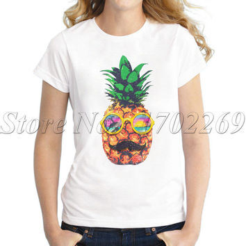 Sun Bathing Hipster Pineapple Women funny t-shirt short sleeve casual lady tops novelty vintage style fashion cool tee shirts