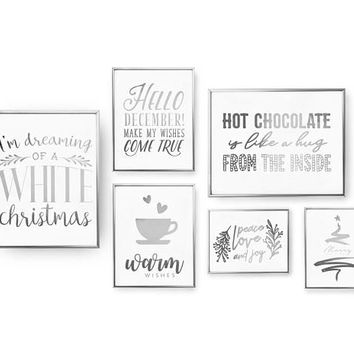 Holiday Sign, Christmas Gift, SET of 6 Prints, White Christmas, Warm Wishes, Merry Christmas, Real Gold Foil, Home Decor, Xmas Set, Xmas Art