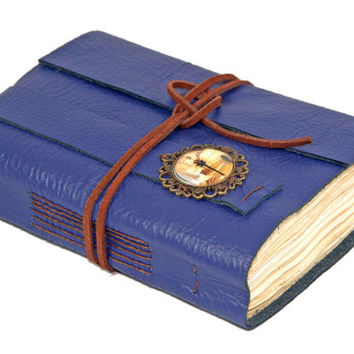 Purple Leather Journal with Tea Stained Paper and Dragonfly Cameo - Ready to Ship -
