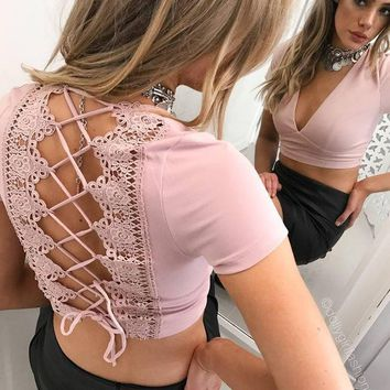 Butterfly Lace Hollow Out Crop Top Tops T-shirts