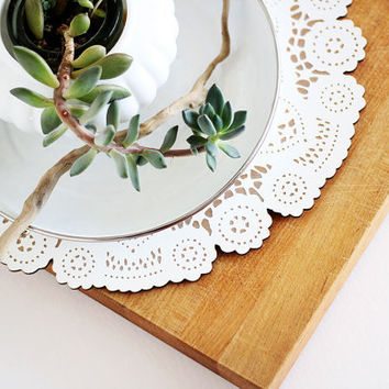 wood doily for easter table spring decor centerpiece