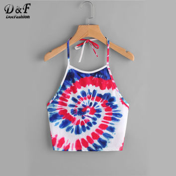 Dotfashion Summer Dye Print Tie Halter Adjustable Top Spiral Tie Boho Tank