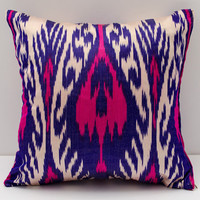 15x15 pink purple cream ikat cushion case, ikat pillow cover, ikat, pillows, ikats, sofa pillow, pillow