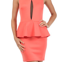 Dressy Sleeveless Peplum Cocktail Dress