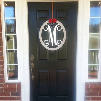 Custom Metal Monogram Door Hanger/ Wreath- Yarn wrapped- 1/2 wrapped wreath