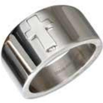 Stainless Steel Tapered Band with Cross Ring