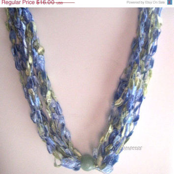 ON SALE Casual Crochet Necklace Mint Green Ladder Ribbon Yarn Necklace Gift for Mom Choker Crocheted Jewelry