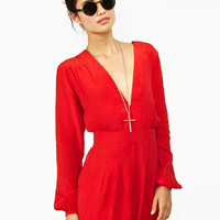Red V-Neck Long Sleeve Romper
