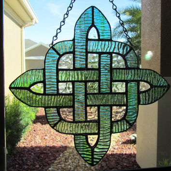Green Celtic Stained Glass Sun Catcher ~ Irish Sun catcher ~ Celtic Design ~ Home Decor