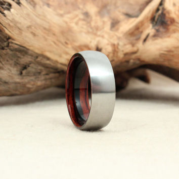 Size 10.5 - Zirconium Wood Ring Lined with Special Grade Cocobolo Rosewood