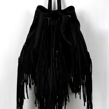 Boxy Fringe Drawsting Backpack