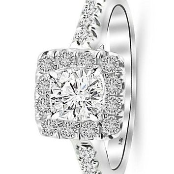 d.1.09 Carat 14K White Gold Square Halo Cushion GIA Certified Round Cut Diamond Engagement Ring (0.59 Ct H Color VS1 Clarity Center Stone)