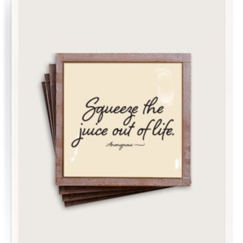 Squeeze The Juice Copper & Glass Coasters, Set of 4