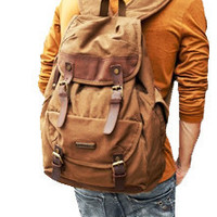 Brown Canvas & Leather Casual Travel Rucksack Backpack $67.99