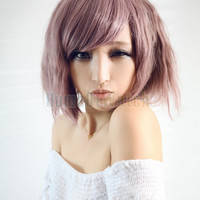 Pink Purple Lady Cosplay wig short little wavy curly hair wig (NWG0CP61039-PN2)
