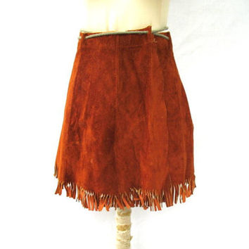 vintage Leather Mini Skirt. Brown Leather Wrap Skirt. High Waist Skirt with fringe