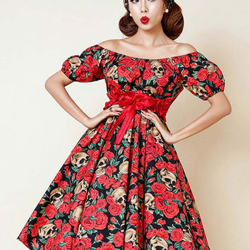 Red Vintage Rose And Skull Print Bowknot Waist Off Shoulder Dress