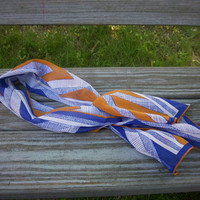 Vintage Scarf Vera Scarf Geometric Scarf Blue Scarf Orange Scarf White Scarf Ladies Accessory