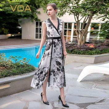 Voa Summer Sleeveless Sexy Deep V Neck Vintage Chinese Style Elegant Silk Dress Plus Size Grace Maxi Women Dress Alx09001