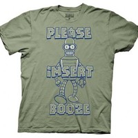 Futurama Please Insert Booze Bender Cactus Green Adult T-shirt  - Futurama - | TV Store Online