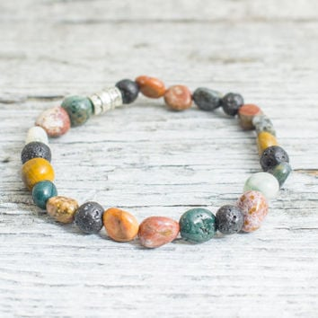 Free form indian agate & lava stone beaded stretchy bracelet, made to order yoga bracelet, mens bracelet, womens bracelet