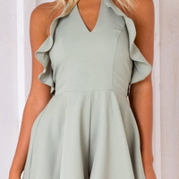 Green Halter Backless Ruffle Cut Out Playsuit