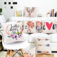 American Retro Cotton Linen Illustration Exotic Cushions Decorative Pillow Home Decor Sofa Throw Pillows Almofada Luxo 45*45