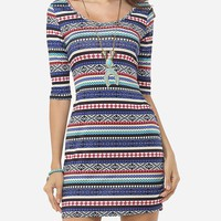 Streetstyle  Casual Tribal Stripes Patchwork Round Neck Bodycon-dress