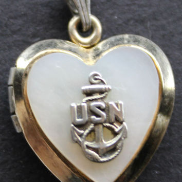 Womans Vintage USN U.S. Heart Locket with Mother of Pearl 18k Gold Over 925 Sterling Silver