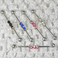 3 Stone CZ Industrial Barbell
