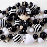 Death the Kid Necklace, Black and White, Silver Rosary - Soul Eater, Anime